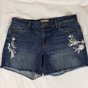 LOFT Made and Loved Embroidered Jean Shorts 29 W